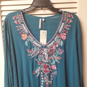 Teal Blue Embroidered Flowy Boho Top NWT